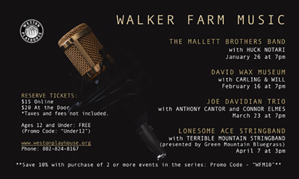 Weston Playhouse Announces Lineup for Walker Farm Music